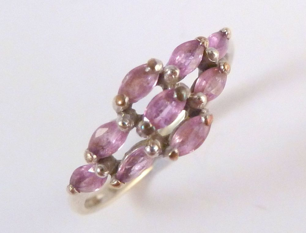 9ct Gold Pink Sapphire Multi Stone Cluster Ring